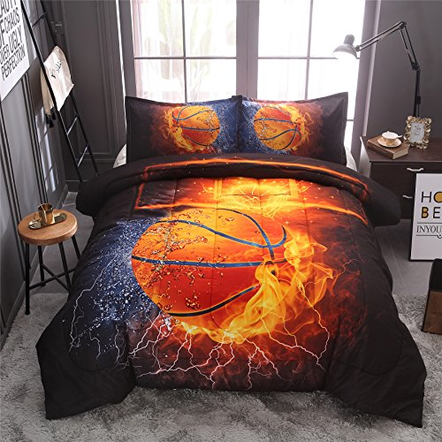 Set Print Bedding (A Nice Night Basketball Print Comforter Quilt Set Bedding Sets (Basketball, Full))