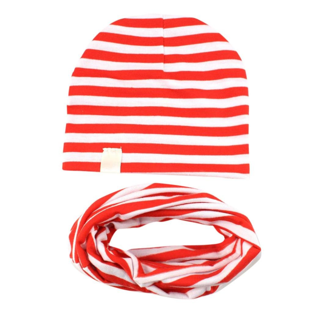 Iuhan 1 Set Lovely Striped Baby Beanie Infant Boys Girls Knitted Hat Cap+Kids Scarfs