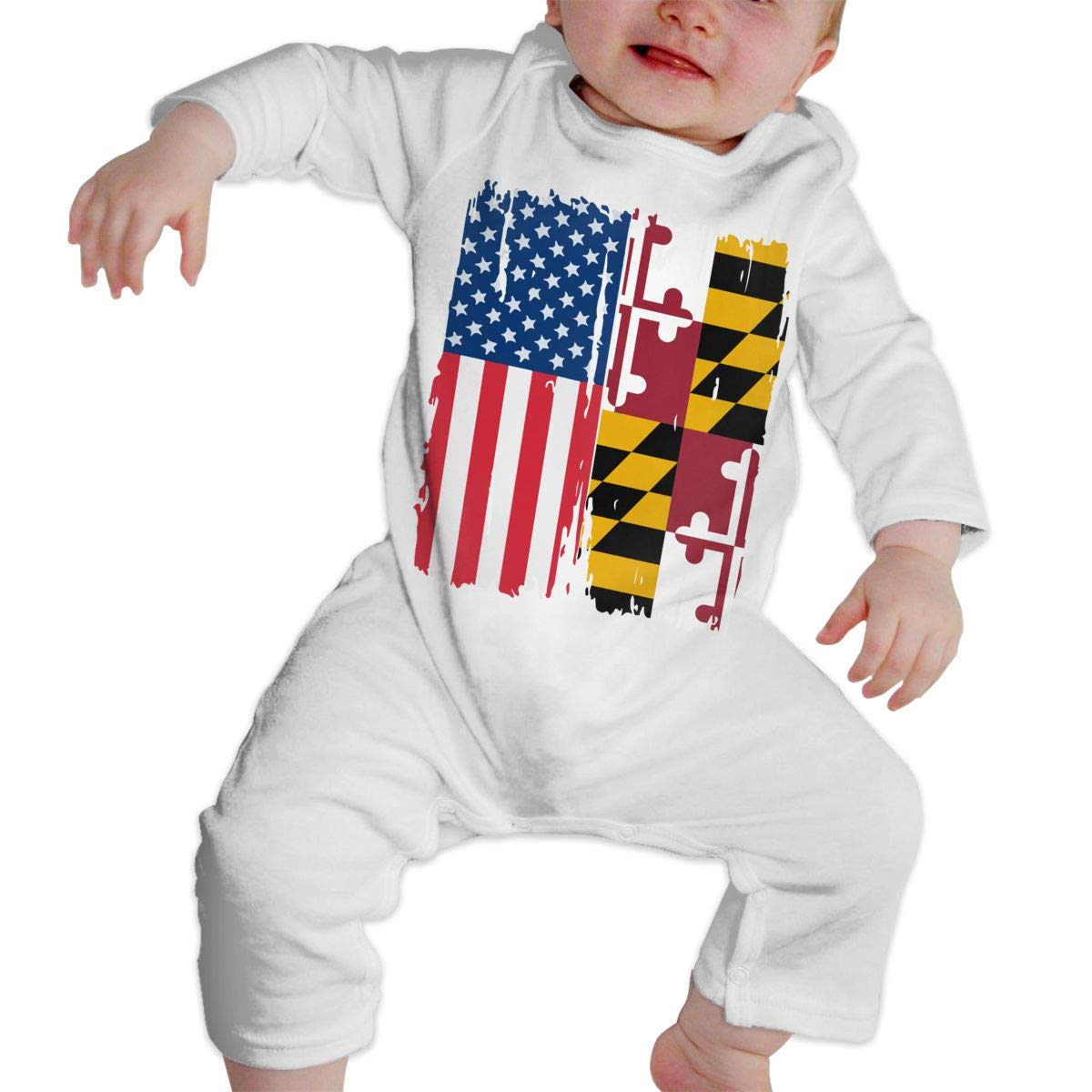 A1BY-5US Newborn Baby Boys Girls Cotton Long Sleeve American Maryland Flag Romper Bodysuit Funny Printed Romper Clothes