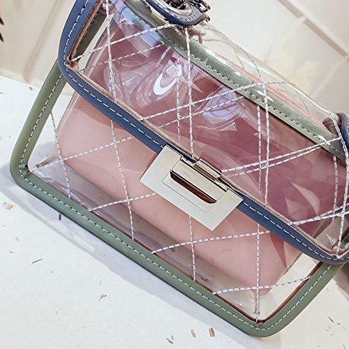 Pequeñas De Azul Bolsa Inclinados Wild Moda Pink La Viento Satchel Fragante Transparente De Solo Gelatina Hombro Diamante GWQGZ Style Cadena UOgwqX4