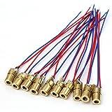 Emorias 10 Pcs Mini Laser Diode Verkabelt Kupfer Laser Head Punkt Dioden Head Lasermodul 5V 650nm 5 MW
