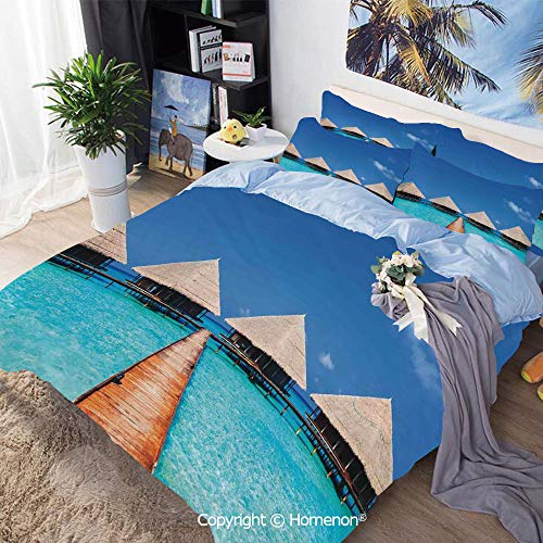 Bedding Sheets Set 3-Piece Bed Set,Maldives Dock with Clear Waters Tropical Nature Polynesian Home Design Decor Decorative,Twin Size,100% Microfiber Super Soft,Breathable,Azure Turquoise Cream ()