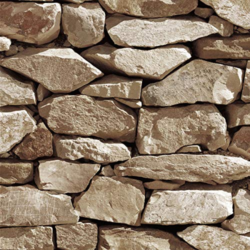 Akea Stone Wallpaper 3D Fake Faux Rock Stone Pattern Wall Paper Roll for Home Kitchen Decor 20.8