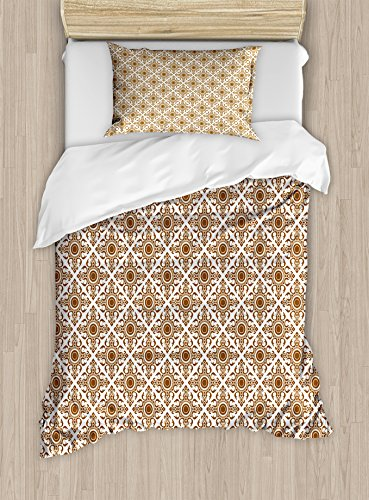 Ambesonne Ethnic Duvet Cover Set Twin Size, Thai Mosaic Art Culture Stylized Abstract Lines Dots Pattern Folk Asian Design, Decorative 2 Piece Bedding Set with 1 Pillow Sham, Redwood White by Ambesonne