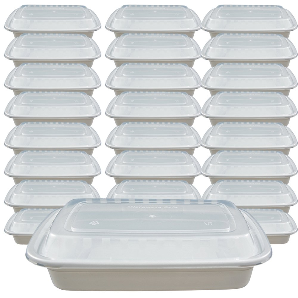50 set Food Containers with lids (16 oz) - Reusable BPA Free Plastic, Microwave, Freezer, Dishwasher Safe, White