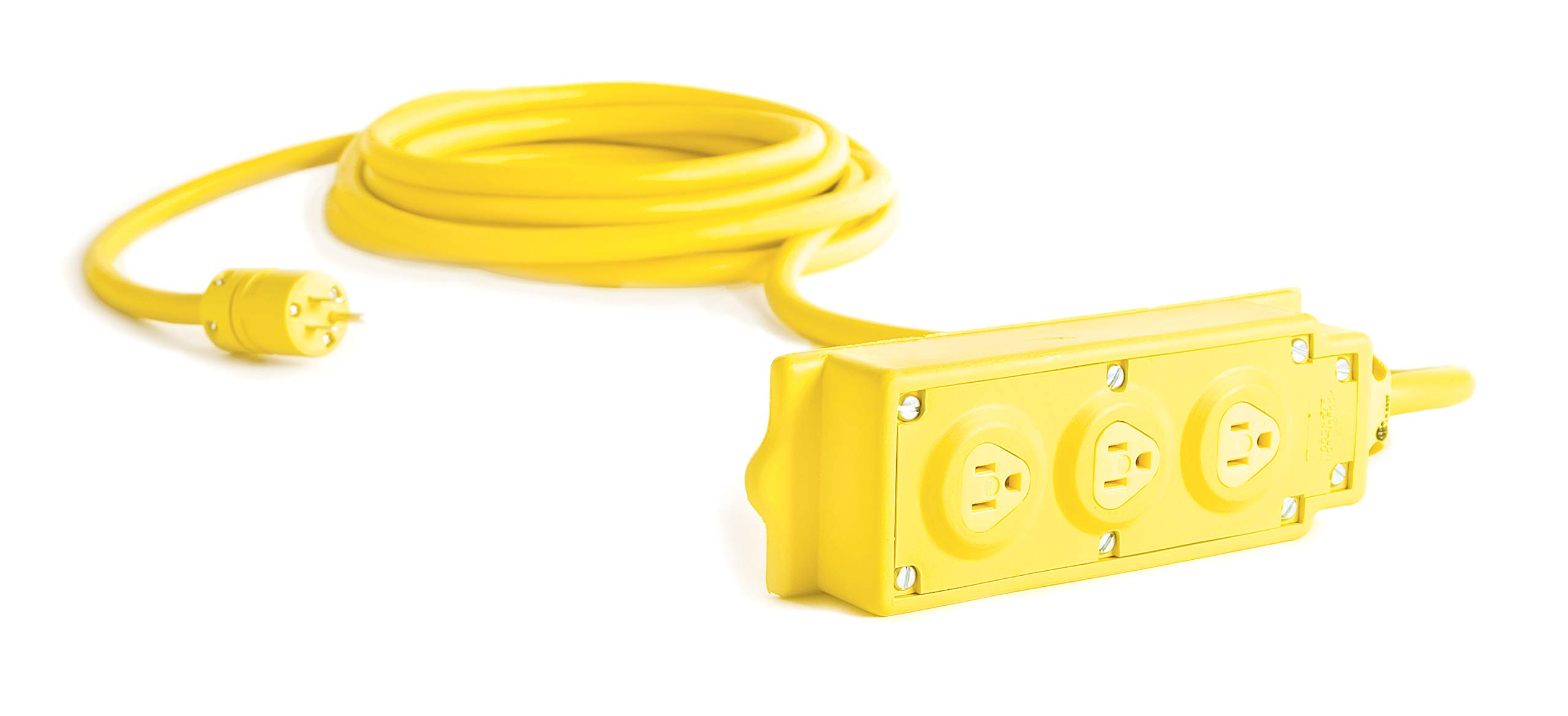 Woodhead 31593A143IN Super-Safeway Outlet Box, Multi-Tap Strip, Inline GFCI, Manual Reset, Open Neutral Relay, NEMA 5-15 Configuration, 2 Poles, 3 Wires, 14/3 SJOW Cord Type, 25ft Cord Length, 15A Current