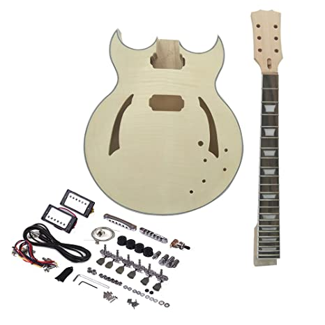 ammoon Guitarra Eléctrica DIY Inconcluso Kit Semi Hollow Cuerpo de Tilo Diapasón de Palisandro Cuello de