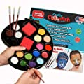 Face Painting Kit 16 color with Gift Box 3 Brushes 3 Sponges FREE ebook Face Paint Made in USA Great for Parties Hypoallergenic Face Painting Kits