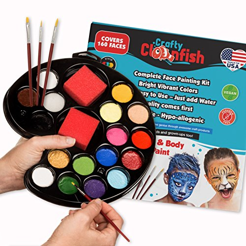 UPC 712038098613, Face Painting Kit 16 color with Gift Box 3 Brushes 3 Sponges FREE ebook Face Paint Made in USA Great for Parties Hypoallergenic Face Painting Kits