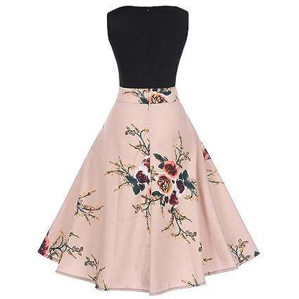 Ba Zha Hei de Vestido Estampado de Cintura Vintage Hepburn para Mujer Vestidos Mujer Casual Moda