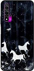حافظة لهاتف هواوي نوفا 5T بصورة وحيد القرن في الليل