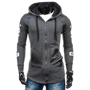 Bestow Los Hombres de Cuero de Invierno cálido Sudadera con Capucha Abrigo Chaqueta Outwear suéter Abrigo