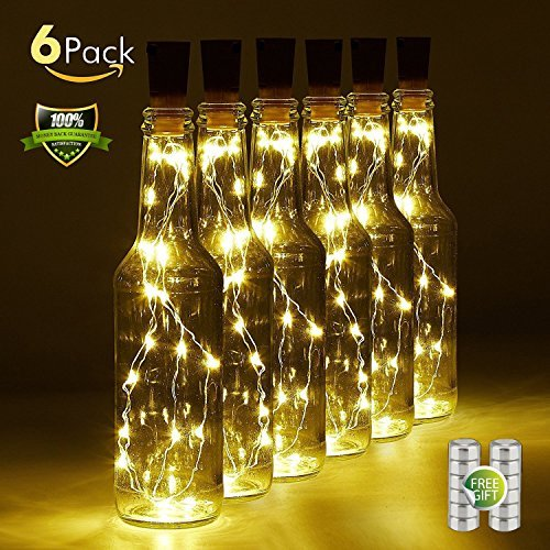 Bottle Cork Lights Battery Powered 20 LED Wine Bottle String Lights - Fits All Bottle and Create Romantic Atmosphere-Also Works As a Night Light or Mood Light(6 Pack) by GLSX