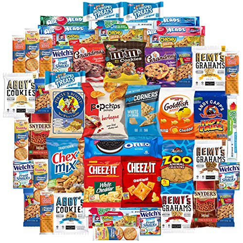 Cookies Chips & Candy Snacks Assortment Bulk Sampler through Variety Fun (Care Package 50 Count)