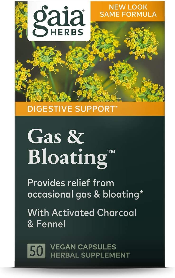 Gaia Herbs Gas & Bloating Supplement, Vegan Capsules, 50 count - Gas Relief Tablets Reduce Bloating and Improve Digestive Function, Activated Charcoal and Fennel: Health & Personal Care