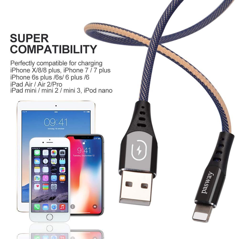 Pasway Cable iPhone, Paquete de 4 [0.25M+1M+2M+3M] Trenzado 3.0A USB Cable de Carga y sinc rápido Compatible con i Phone XS MAX XR X 8 8 Plus 7 7 Plus 6s 6s Plus 6 6 Plus iPad