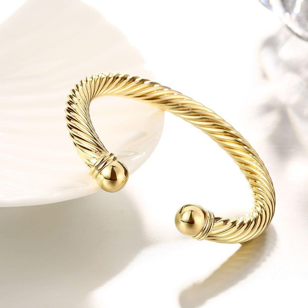 Zhiwen Simple Cuff Bracelet 18K Real Gold Platinum Plated Fine Bangle Bracelet Cable Wire Twisted Cuff Bangle Bracelets for Women Men by Zhiwen (Image #5)