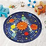 "Kids Round Rug Solar System Learning Area Rug Childrens Fun Area Rug - Non Slip Bottom (NASA Stars, 47"" Diameter Round)"