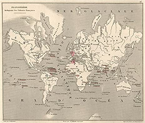 Amazon planisphre indiquant les colonies franaises french planisphre indiquant les colonies franaises french vuillemin 1879 old map gumiabroncs Choice Image