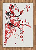 Floral Area Rug by Ambesonne, Japanese Cherry Blossom Sakura Blooms Branch Spring Inspirations Print, Flat Woven Accent Rug for Living Room Bedroom Dining Room, 5.2 x 7.5 FT, Red Seal Brown White