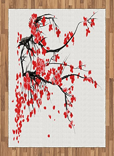 Floral Area Rug by Ambesonne, Japanese Cherry Blossom Sakura Blooms Branch Spring Inspirations Print, Flat Woven Accent Rug for Living Room Bedroom Dining Room, 5.2 x 7.5 FT, Red Seal Brown White by Ambesonne