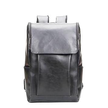 Wewod Pu Cuero Backpack Mochilas Escolares Mochila Escolar Casual Bolsa Viaje Moda Sencillo Mochila Escolar Casual Bolsa Viaje Moda Hombre (Negro): ...