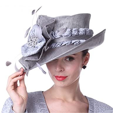 f471d3eea30f6 Kueeni Women Hats Beautiful for Wedding Mother of Bride Hats Silver   Amazon.co.uk  Clothing