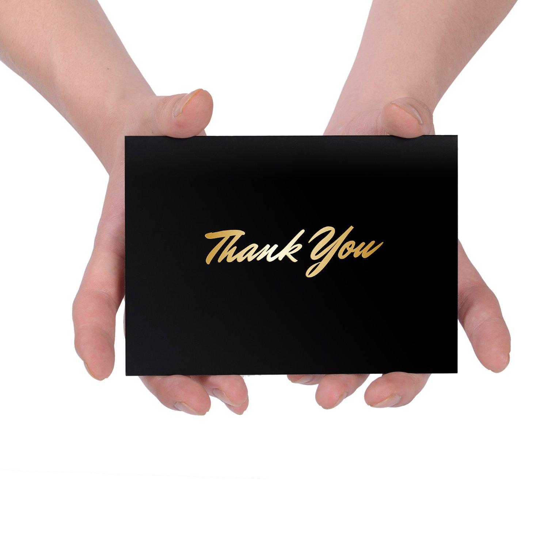 Lot de 50 cartes de remerciement en papier dor/é avec enveloppes auto-adh/ésives les fun/érailles les mariages les cadeaux de remise de dipl/ôme Parfait pour les affaires les f/êtes pr/énatales