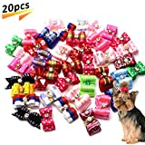 Pet Hair Bows Bowknot Dog Bows Canister Hair Clip Rhinestone Grooming Bows Puppy Topknot Hair Accessories (20pcs, Random)