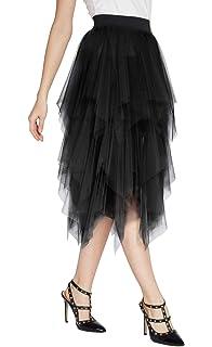 2ba0c9859a7b91 Urban CoCo Women's Sheer Tutu Skirt Tulle Mesh Layered Midi Skirt at ...