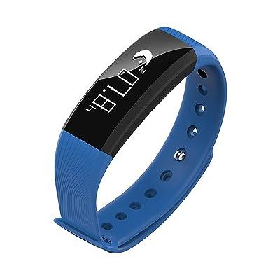 Loluka Fitness moniteur de pression sanguine de la fréquence cardiaque calories Bracelet Smartwatch Sports Homme Femme Bleu