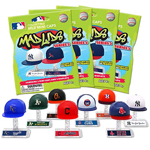 Party Animal Mad Lids Series 2 MLB Mini Baseball Caps Blind Bags Gift Set Party Bundle - 4 Pack ()