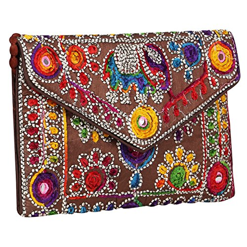 Rajasthani Jaipuri Art Sling Bag Foldover Clutch Purse-Quality Checked-Brown