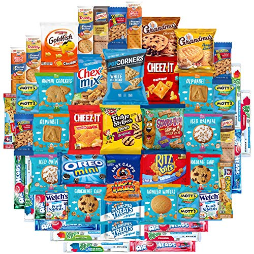 Snacks Care Package Mix Variety Pack of Chips, Cookies, Candy, Care Package to Friends and Family (50 Count)]()
