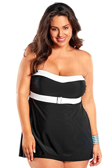 42a135038fd Always For Me Women s Plus Size Selene One Piece Belted Swimdress - Ladies   Bathing Suit   Swimwear at Amazon Women s Clothing store