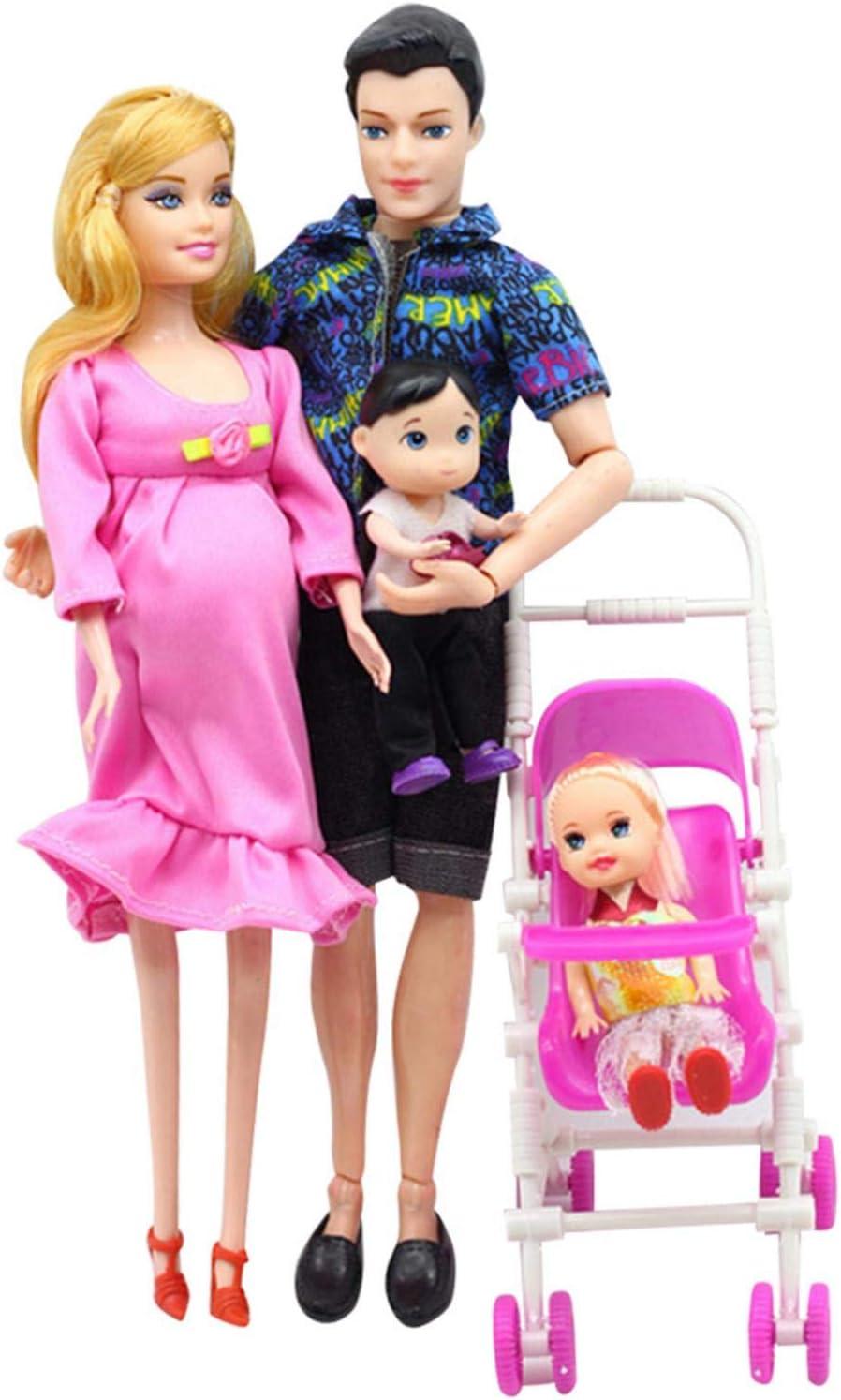 Juego de muñecas familiares para papá y mamá embarazada, 1 hija, 1 hijo y 1 bebé en la barriga de mamá, para juguetes educativos, regalo del día de cumpleaños de Navidad para niños