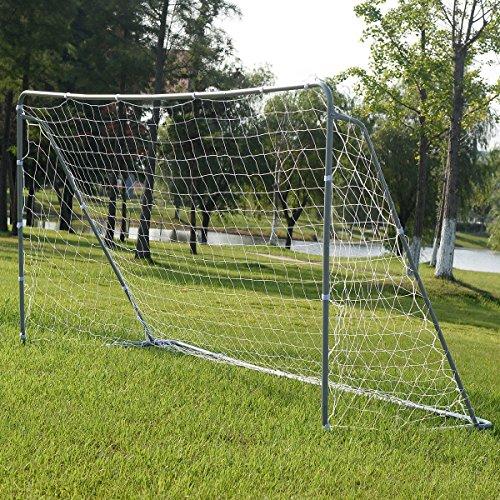 Soccer Goal 12' x 6' Football W/Net Straps, Anchor Ball Training Sets (8 Foot Basketball Hoop Attachment)