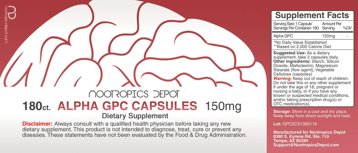 Alpha GPC Capsules | 150mg | 180 Count | Cholinergic Supplement | Brain Health Supplement | Supports Healthy Brain Function | Enhance Cognition, Memory + Focus by Nootropics Depot (Image #2)