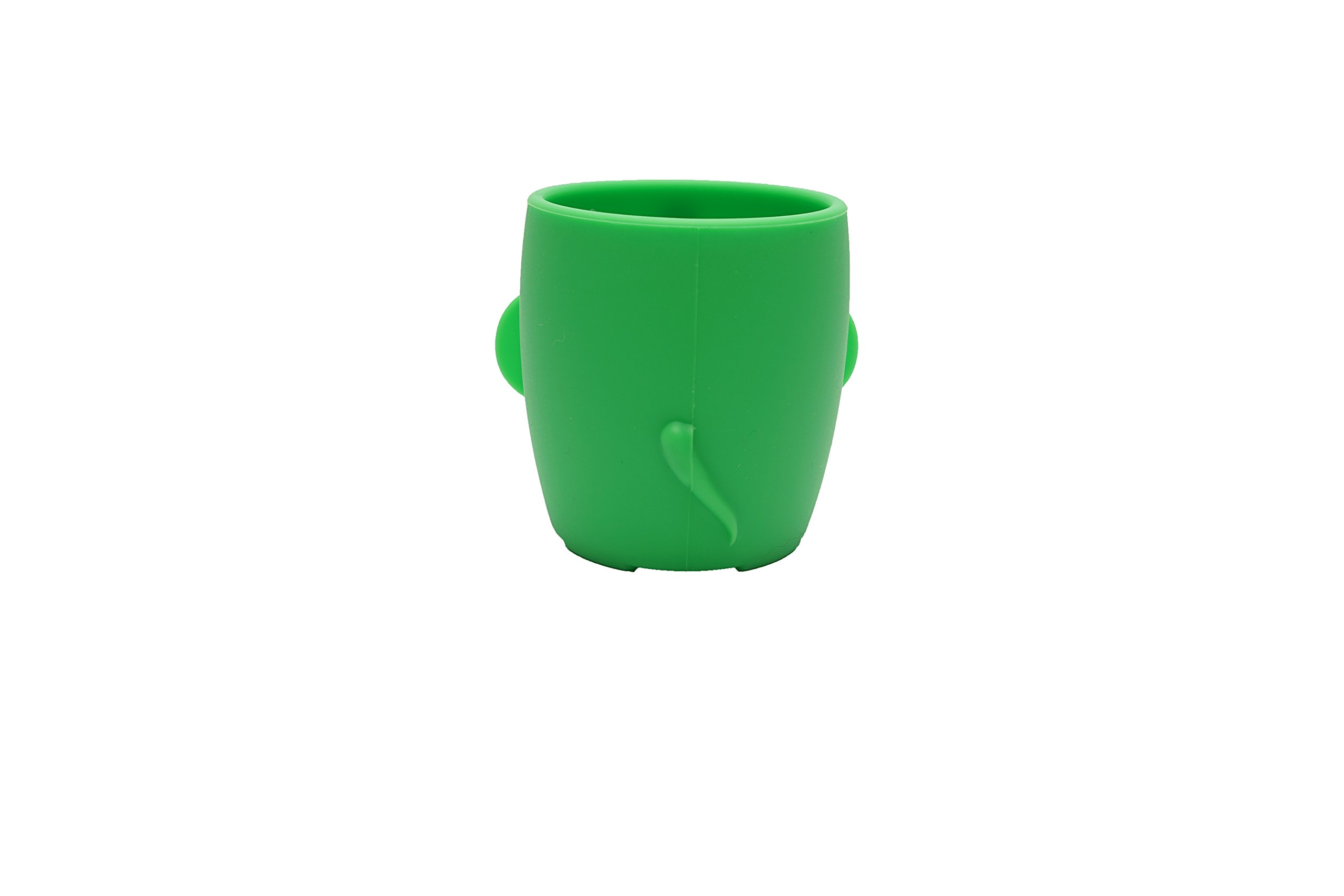 Baby Kid Sippy Cup Mug For Toddlers Learning Cup Elephant Design Great For Baby's Interaction Dexterity Food Grade Silicone BPA FREE Bambini Bear - Lime Green by Bambini Bear (Image #3)
