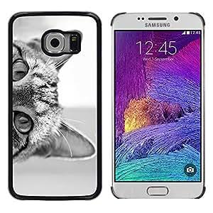 Ojos de gato Negro Gatito blanco lindo del animal doméstico - Metal de aluminio y de plástico duro Caja del teléfono - Negro - Samsung Galaxy S6 EDGE (NOT S6)