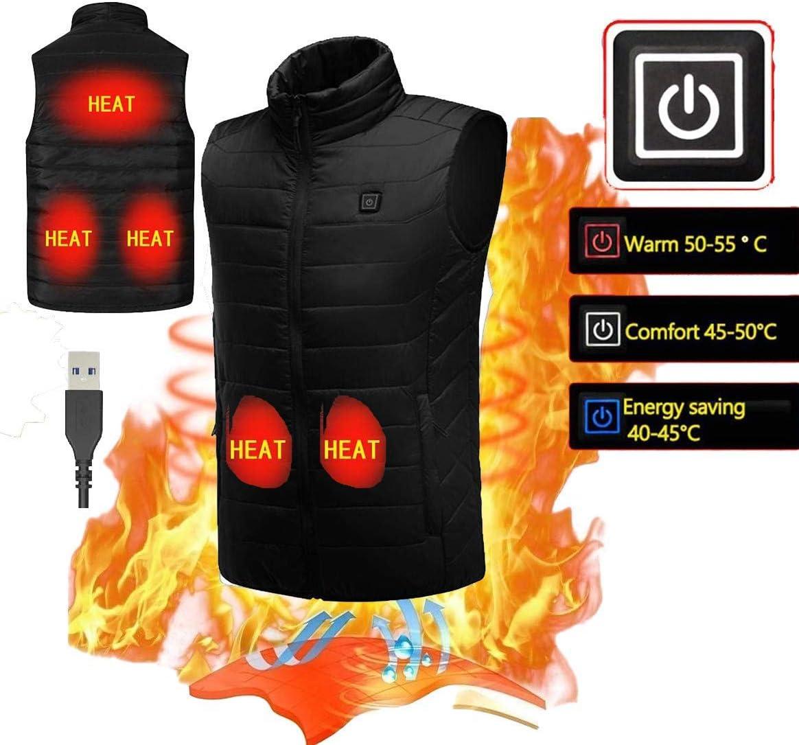 KOBWA Chaleco Calentador el/éctrico para Hombre Chaleco Calentador para Invierno Chaleco para Deportes al Aire Libre Carga USB Mujer 5 V c/álido Aislante Ajustable EU-S