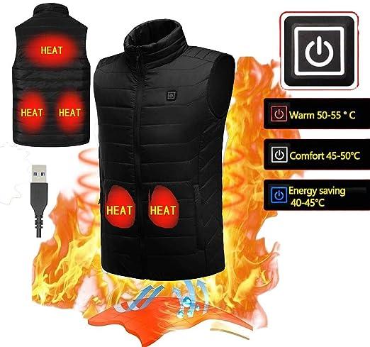 KOBWA Chaleco Calentador el/éctrico para Hombre Chaleco Calentador para Invierno 5 V Mujer c/álido Aislante Chaleco para Deportes al Aire Libre Carga USB Ajustable EU-S
