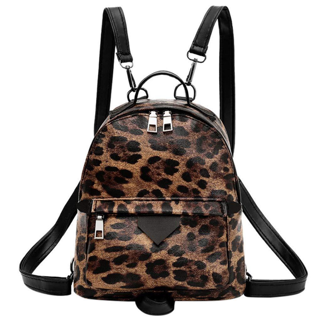 Mini Packpack Animal Pattern Shoulder Bag Detachable Shoulder Strap Daypack Large Capacity Handbag for Women By Lmtime(Brown)