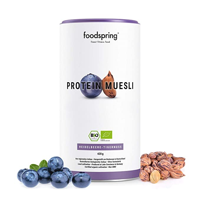 foodspring Muesli Proteico, 420g, Arándanos-Chufas, Muesli ...