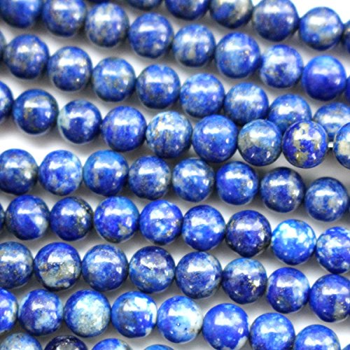 fashiontrenda Natural Color Genuine Blue Lapis Lazuli Real Gemstone Loose Beads for Necklace Jewelry Making (Round 8mm)
