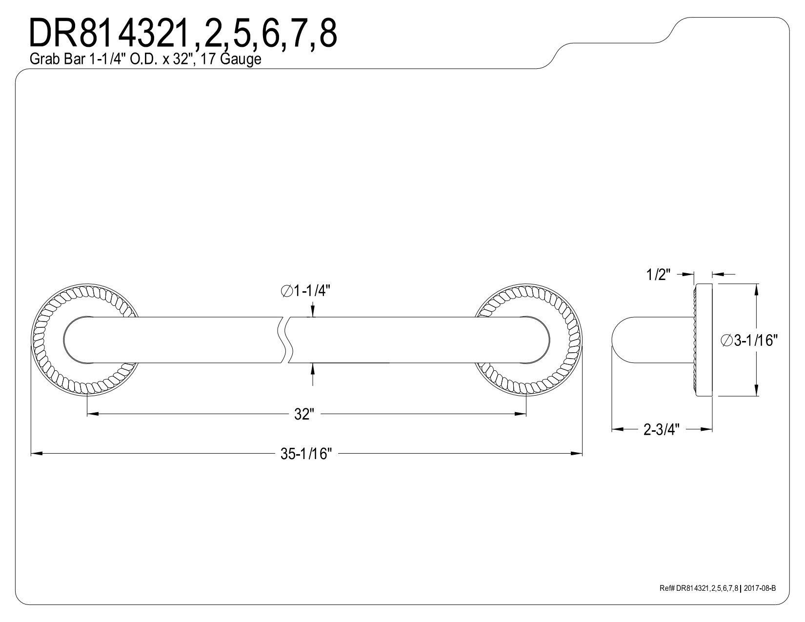 Kingston Brass DR814325 Designer Trimscape Laurel Decor 32-Inch Grab Bar with 1.25-Inch Outer Diameter, Oil Rubbed Bronze
