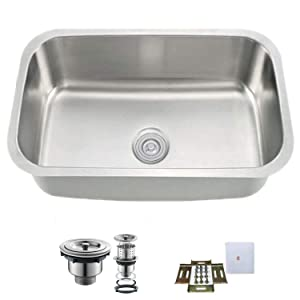 "Oakland KSU2718 Undermount 27"" Kitchen Single Bowl Sink, 304 Stainless Steel 18 Gauge"