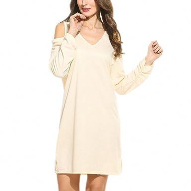 Dress Women Spring Autumn V-Neck Cold Shoulder Long Sleeve Side Slit Casual Solid Loose