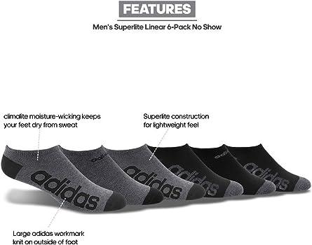 bbd8045dab98 Amazon.com: adidas Men's Superlite Linear No Show Socks (6-Pack ...