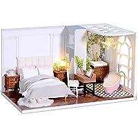 CUTEBEE Dollhouse Miniature with Furniture, DIY Wooden Dollhouse Kit Plus Dust Proof, Creative Room Idea(Enjoyable Life)